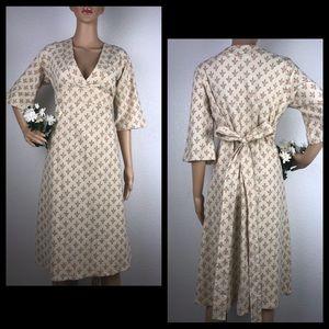 Anthro Porridge Linen Wheat Midi Kimono Dress